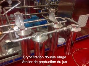 Cryofiltration double étage – Atelier de production du jus